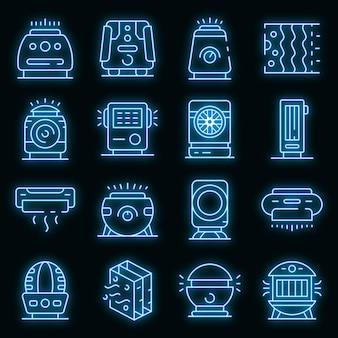 Luchtreiniger pictogrammen instellen. overzicht set luchtreiniger vector iconen neon kleur op zwart