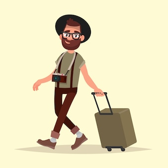 Luchtreiziger. hipster man met bagage gaat naar de luchthaven. vectorillustratie in cartoon stijl