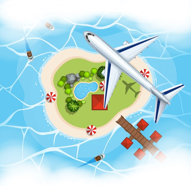 Luchtscène met vliegtuig die over eiland vliegen