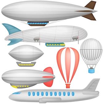 Luchtschip, ballons en vliegtuig in pictogrammeninzameling geïsoleerde illustratie