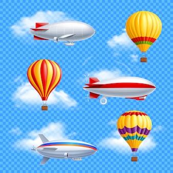 Luchtschip icon set