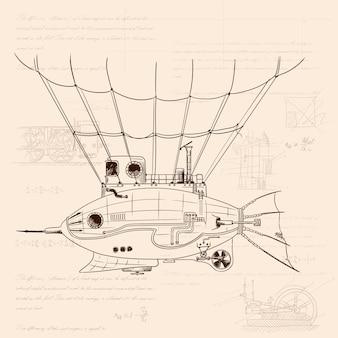 Luchtschip in de vorm van een vis met een metalen body op mechanische bediening in steampunkstijl