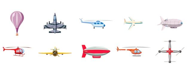 Luchtschip ingesteld. cartoon set luchtschip