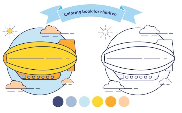 Luchtschip kleurboek voor kinderen. dirigible of blimp vliegtuigen vliegen.