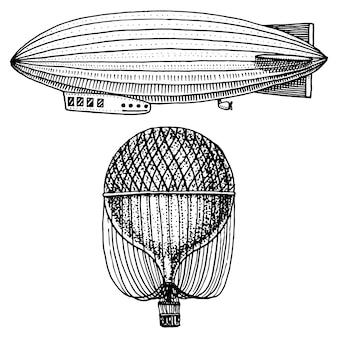 Luchtschip of zeppelin en bestuurbare of luchtballon, luchtballon of aerostat illustratie.