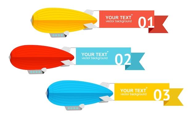 Luchtschip set optie banner voor uw tekst.