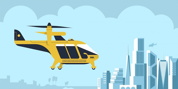 Luchttaxi drone passagiersachtergrond