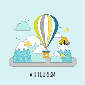 Luchttoerisme concept: hete luchtballon en bergen in lijnstijl