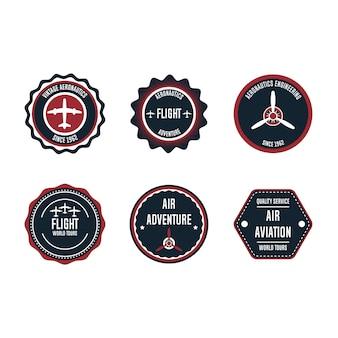 Luchtvaart badge set element. vlucht embleem retro vintage symbool label. vliegtuig avontuur zakelijke sticker. ronde luchtvaart kwaliteitszegel