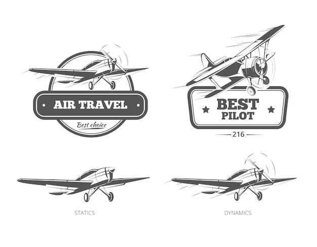 Luchtvaart badges logo's en emblemen etiketten. vliegtuigen en vliegtuig, piloot en reizen, vectorillustratie