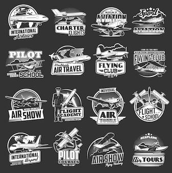 Luchtvaart pictogrammen vintage en moderne vliegtuigen.
