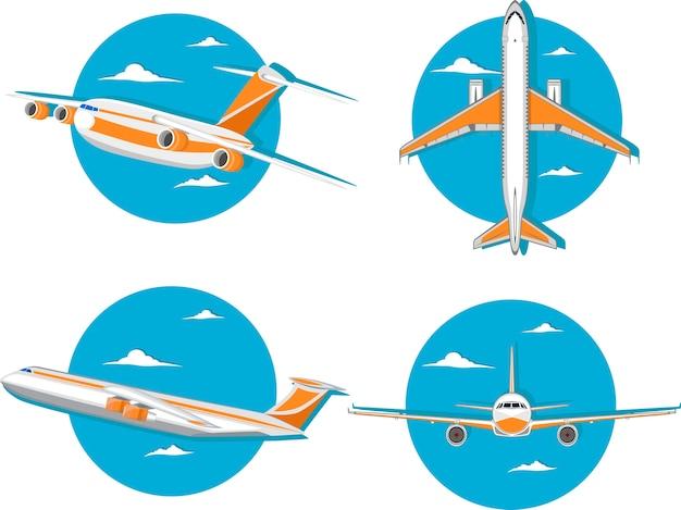 Luchtvaart pictogrammenset met jet-vliegtuig in de lucht.