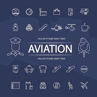 Luchtvaart schets iconen verzameling