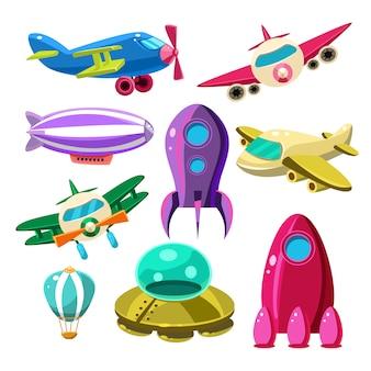 Luchtvaart, vliegtuigen, space shuttles, hot air balloons set