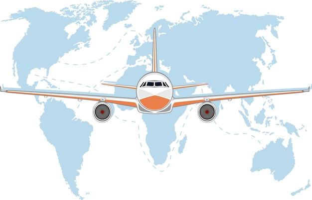 Luchtvaartaffiche met jet-vliegtuig.