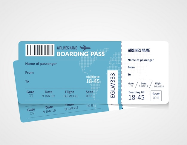 Luchtvaartmaatschappij instapkaart sjabloon