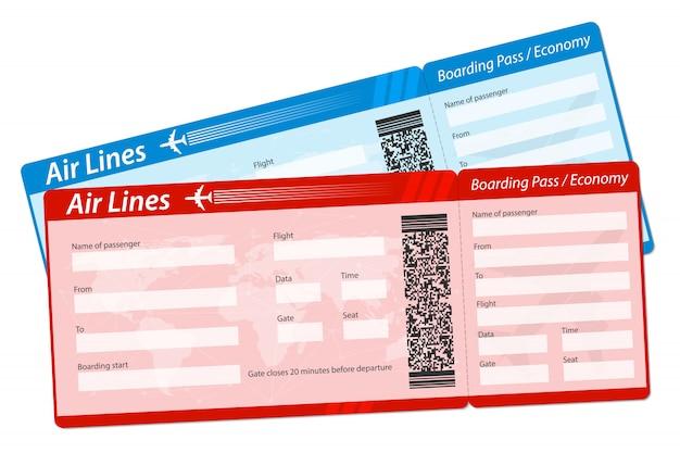 Luchtvaartmaatschappij instapkaart ticket voor vliegtuigreizen.