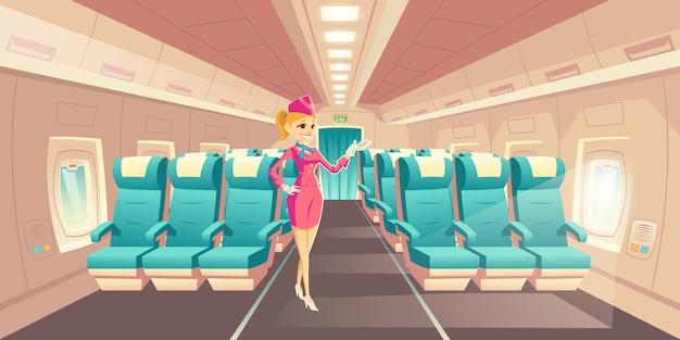 Luchtvaartmaatschappij reizen met comfort cartoon vector. gelukkige glimlachende stewardess, stewardess in elegante vn