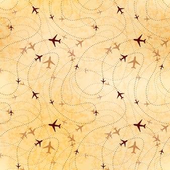 Luchtvaartmaatschappij routes, kaart op oud papier, naadloos patroon