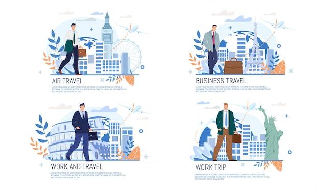 Luchtvaartmaatschappij zakenreis diensten platte banner