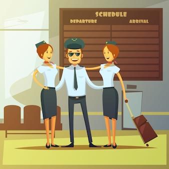 Luchtvaartmaatschappijen cartoon achtergrond