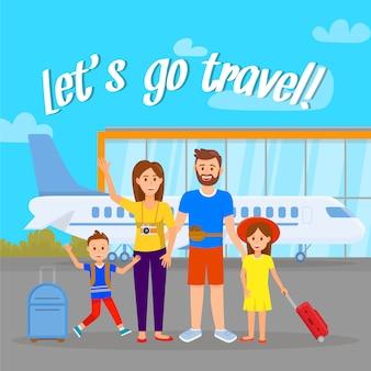 Luchtvaartmaatschappijen, reisagentschap poster met letters.