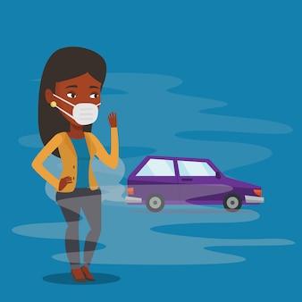 Luchtverontreiniging door uitlaatgassen van voertuigen.