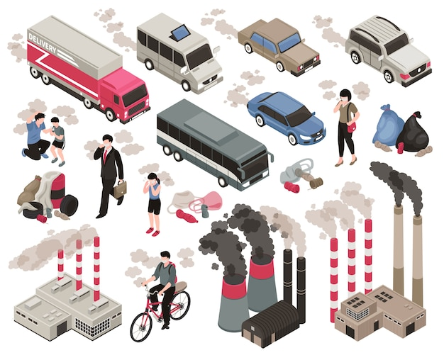 Luchtverontreiniging in stad isometrische set met geïsoleerde industrie symbolen