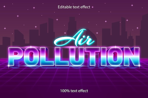 Luchtvervuiling bewerkbaar teksteffect retro met neonstijl