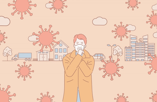 Luchtvervuiling cartoon overzicht illustratie. zelfisolatie en sociale afstand tijdens de uitbraak van het coronavirus.