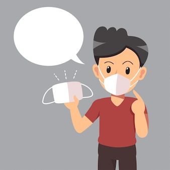 Luchtvervuiling concept man met beschermend gezichtsmasker en witte tekstballon