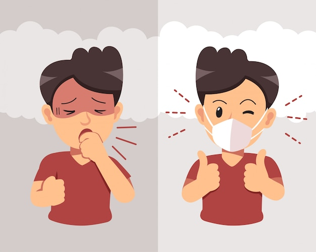 Luchtvervuiling concept. mens die en beschermend gezichtsmasker hoesten dragen tegen rook