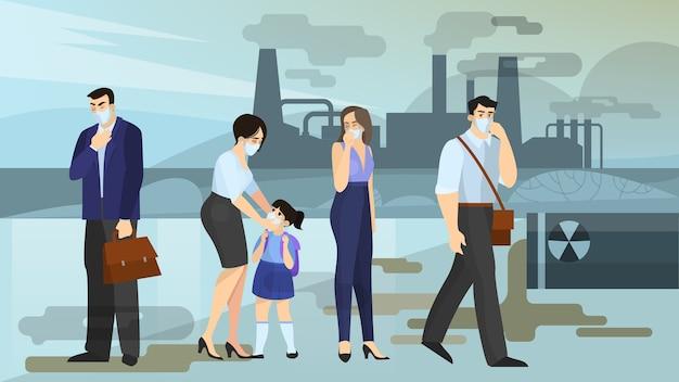 Luchtvervuiling concept. mensen met een gezichtsmasker lijden