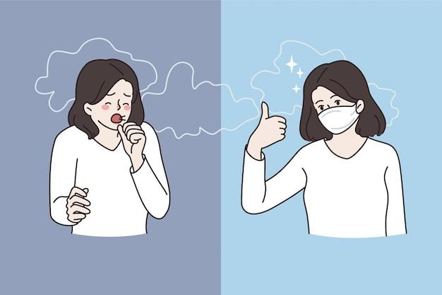 Luchtvervuiling en rook concept. jonge vrouw stripfiguur permanent hoesten en het dragen van een beschermend gezichtsmasker tegen rook vectorillustratie