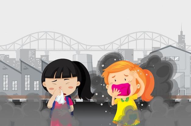 Luchtvervuiling met twee meisjes in vuile gerookte stad