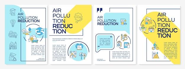Luchtvervuiling vermindering brochure sjabloon. duurzame energie. flyer, boekje, folder afdrukken, omslagontwerp met lineaire pictogrammen. vectorlay-outs voor presentatie, jaarverslagen, advertentiepagina's