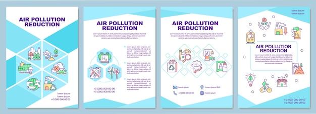 Luchtvervuiling vermindering brochure sjabloon. hernieuwbare energiebronnen. flyer, boekje, folder afdrukken, omslagontwerp met lineaire pictogrammen. vectorlay-outs voor presentatie, jaarverslagen, advertentiepagina's