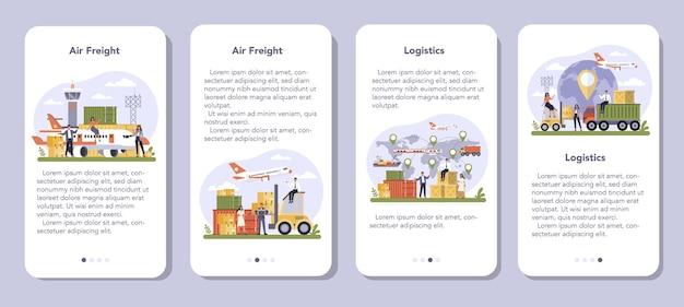 Luchtvracht en logistieke industrie mobiele applicatie banner set