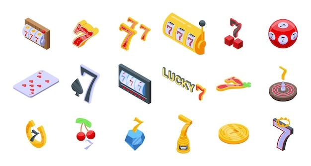 Lucky 7 set. isometrische set van gelukkige 7 voor webdesign geïsoleerd op een witte achtergrond