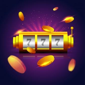 Lucky 777 slot op machine met gouden munten op sprankelende paarse achtergrond.