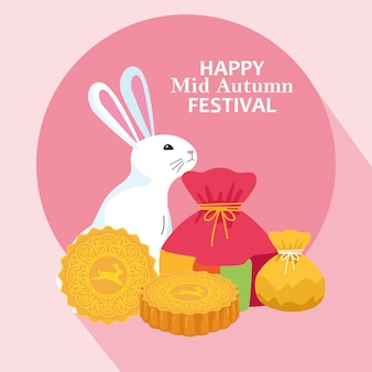 Lucky bag en konijn, happy mid herfst festival