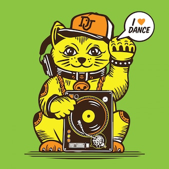 Lucky cat disc jockey dj