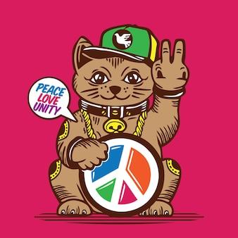 Lucky cat peace love unity afbeelding ontwerp