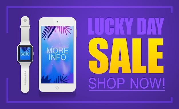 Lucky day sale banner. verkoop en kortingen.