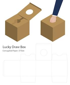 Lucky draw box 3d mockup met dieline