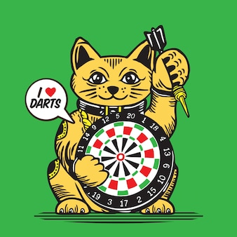 Lucky fortune cat darts game