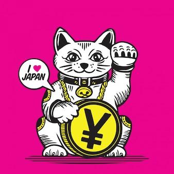 Lucky fortune cat japanese coin yen money
