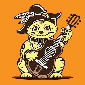 Lucky fortune cat speelt akoestische gitaar in cowboystijl
