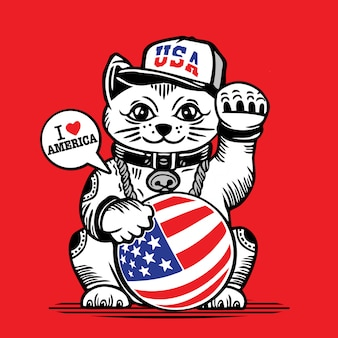 Lucky fortune cat usa vlag characterdesign