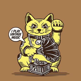 Lucky fortune cat vintage muziek spelen met grammofoonspeler